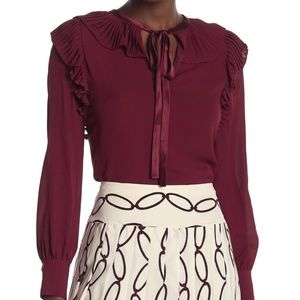 Tory Burch Silk Top With Ruffles and Tie Neck